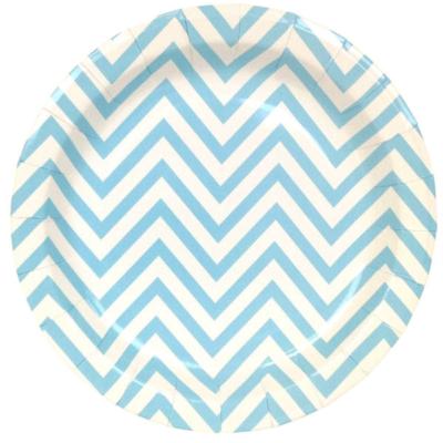 Blue Chevron Round Plates – 12PK