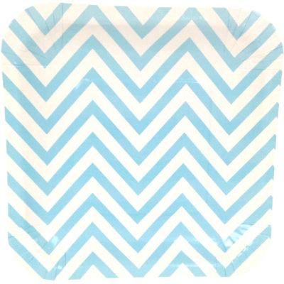 Blue Chevron Square Plates – 12PK