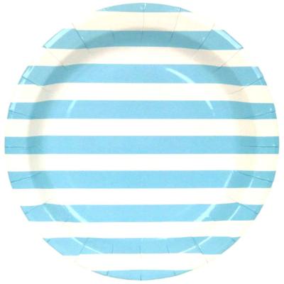 Blue Stripes Round Plates – 12PK