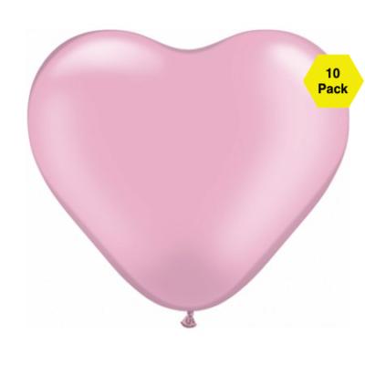 12″ Heart Shaped Balloons – Pink 10 Pk