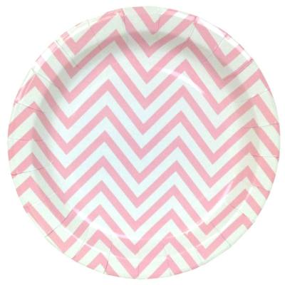 Pink Chevron Round Plates – 12PK