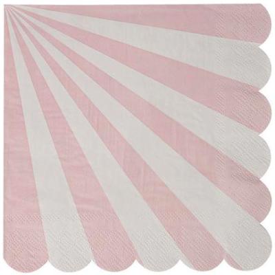 Pink Stripe Scalloped Napkins – 20PK