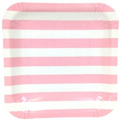 Pink Stripes Square Plates – 12PK
