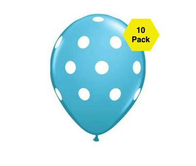 Polka Latex Balloons – Blue 10 Pk