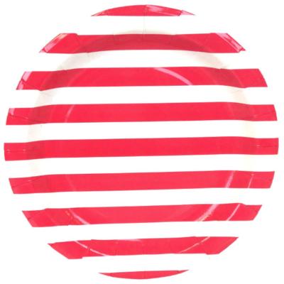 Red Stripes Round Plates – 12PK