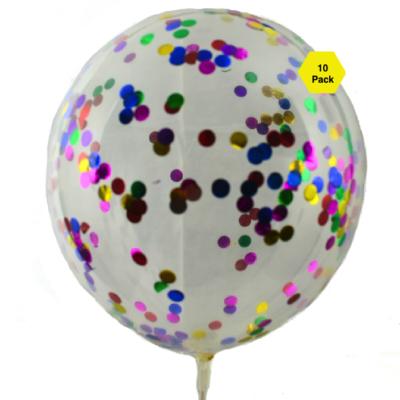 28 CM Rainbow Confetti Balloons – 10pk