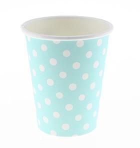 White Polka Dot, Blue cups – 12PK