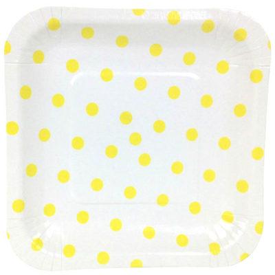 Yellow Polka Dot Square Plates – 12PK