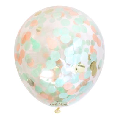 90 cm Jumbo Confetti Balloon  – Mint and Peach