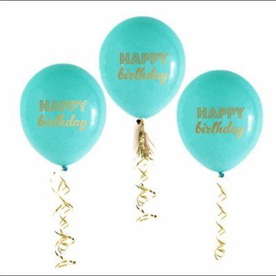 Happy Birthday Printed Latex Balloons Blue 3Pk
