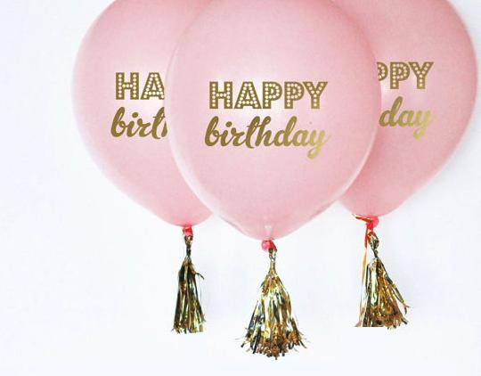 Happy Birthday Printed Latex Balloons Pink 3Pk