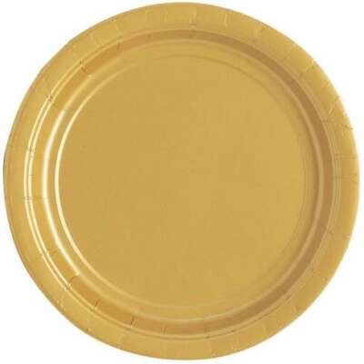 Gold Round Plain Plates- 16 PK