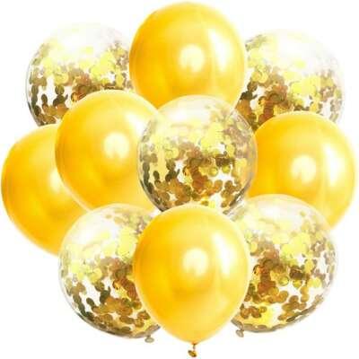Gold Confetti Balloon Bouquet – 10 Piece