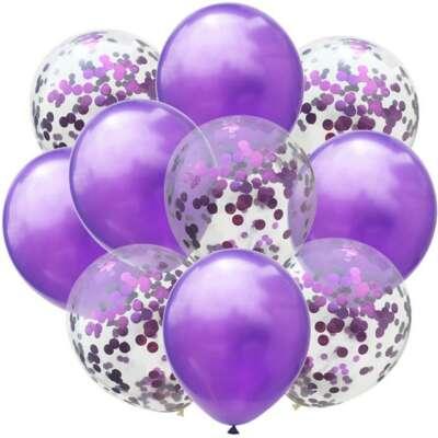 Purple Confetti Balloon Bouquet – 10 Piece