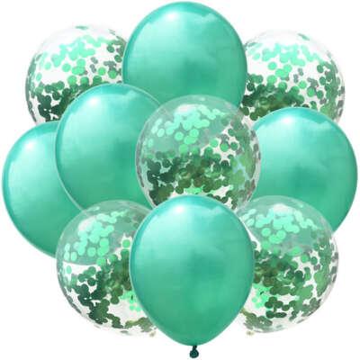 Mint Green Confetti Balloon Bouquet – 10 Piece