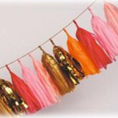 Tissue Paper Tassel – 25 Pack (Light Pink, Pink, Red, Foil Gold, Khaki)