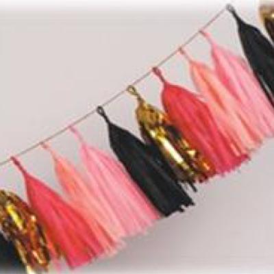 Tissue Paper Tassel – 25 Pack (Red, Pink, Light Pink, Black, Gold Foil)
